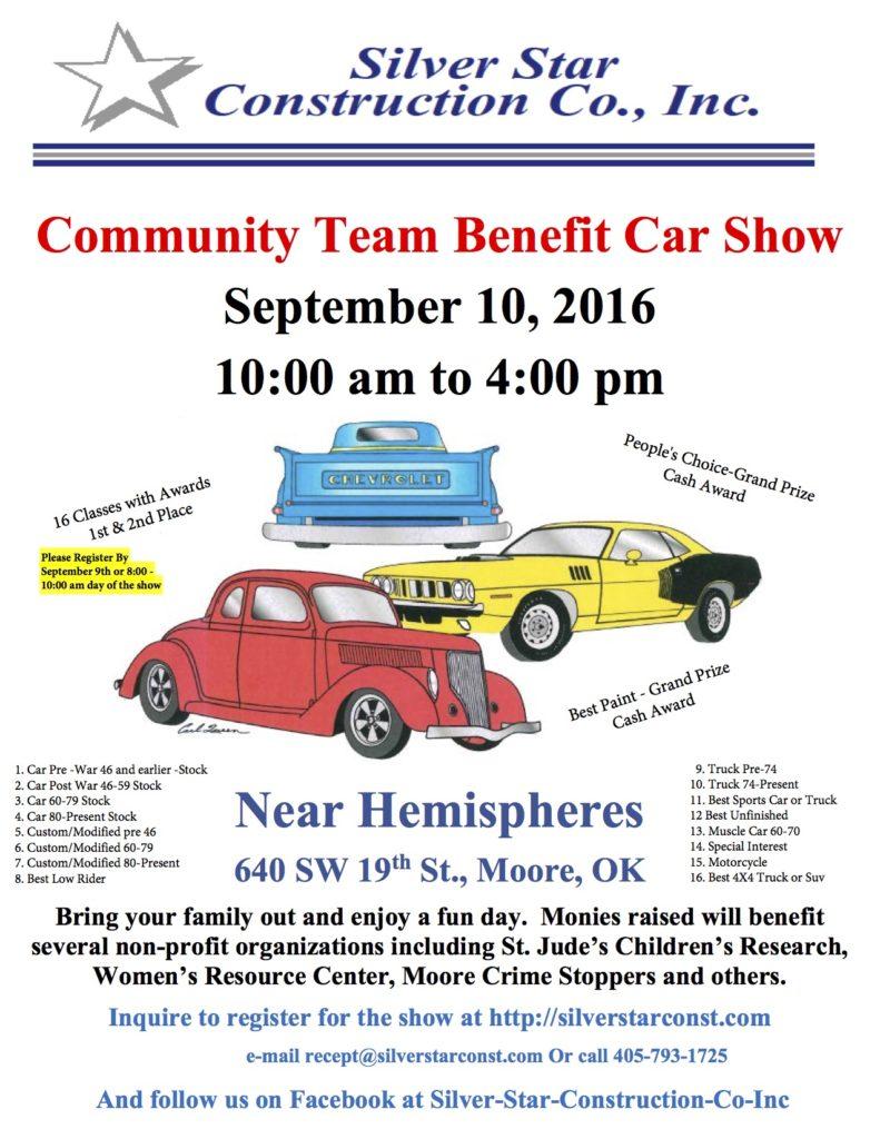 Community Team Benefit Car Show @ Near Hemispheres | Moore | Oklahoma | United States